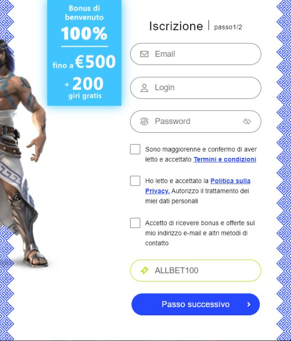 Codice bonus scommesse