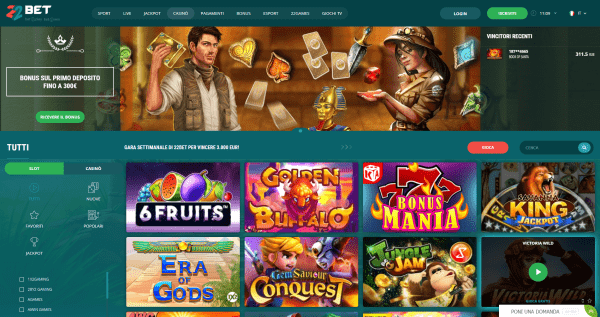 22bet casino, giochi, slot, sport virtuali