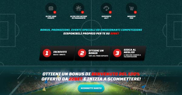 22bet scommesse, scommesse in Italia, scommesse online, esports