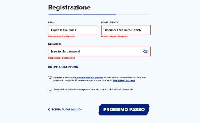 Sportaza registrazione, iscrizione.
